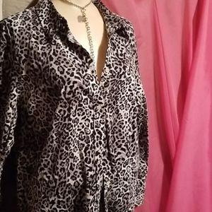 Chaps Cheetah Print Blouse